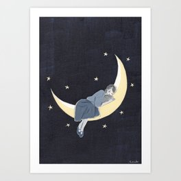 The light of the crescent moon Art Print