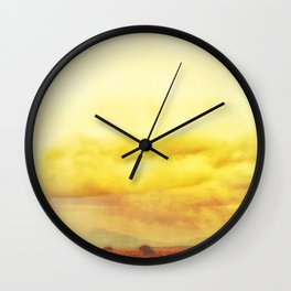 Modern Desert Sky Ladscape, Yellow Clouds, New Mexico, Minmal Wall Clock