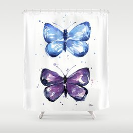 Butterflies Watercolor Blue and Purple Butterfly Shower Curtain