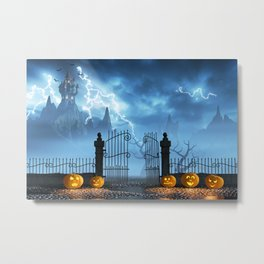 Halloween pumpkins next to a gate of a spooky castle Metal Print