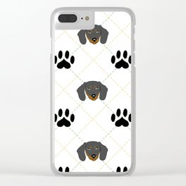 Dachshund Paw Print Pattern Clear iPhone Case