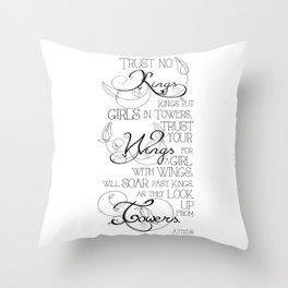 Trust No Kings - white Throw Pillow