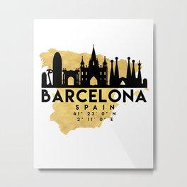BARCELONA SPAIN SILHOUETTE SKYLINE MAP ART Metal Print