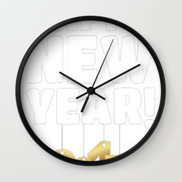 Happy New Year - 2017 Gold Hanging Numbers T-Shirt Wall Clock