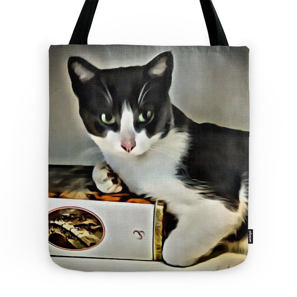 Black & White Kitty Tote Purse by digitaleffects (TBG7755520) photo