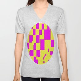 Egg Yellow-Fuchsia City Scapes Abstract Unisex V-Neck