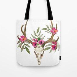 Bohemian deer skull and antlers with flowers Tote Bag