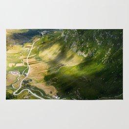 Winding roads in Switzerland Rug