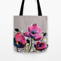 poppies Tote Bags featuring Poppies by Michelle Nilson