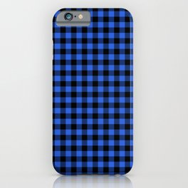Classic Royal Blue Country Cottage Summer Buffalo Plaid iPhone Case