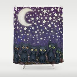 black cats, stars, & moon Shower Curtain