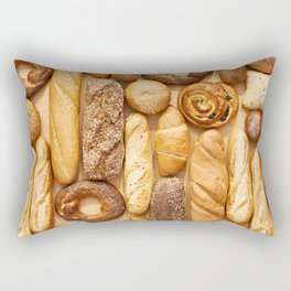 Bread baking rolls and croissants background Rectangular Pillow