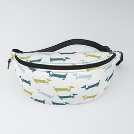Blue and yellow green dachshunds pattern Fanny Pack
