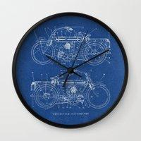 blueprint Wall Clocks featuring Motorcycle blueprint by marcusmelton