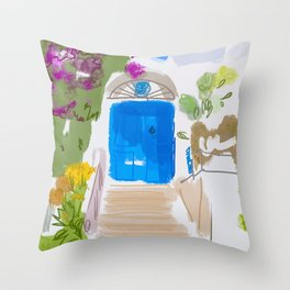 Beautiful front door with flowers of a house in Ischia island , italy Throw Pillow