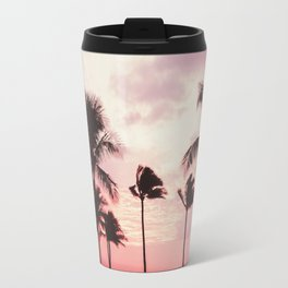 Tropical Palm Tree Pink Sunset Travel Mug