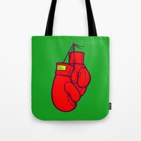 boxing Tote Bags featuring Boxing Gloves by Artistic Dyslexia