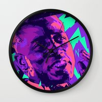 wesley bird Wall Clocks featuring Wesley snipes // Bad actors v2 by mergedvisible