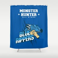 monster hunter Shower Curtains featuring Monster Hunter All Stars - Blue Rippers by Bleached ink
