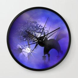 mooncats in a foggy night Wall Clock