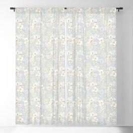 White Floral on Pale Blue Blackout Curtain