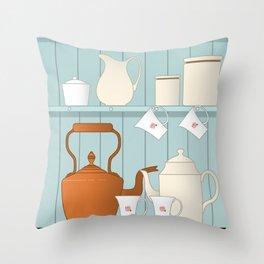 Vintage Kitchen Ilustration Throw Pillow