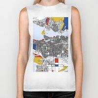 mondrian Biker Tanks featuring Vanvouver Mondrian by Mondrian Maps