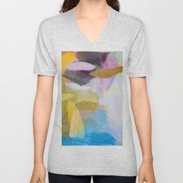 splash painting texture abstract background in yellow blue pink Unisex V-Neck
