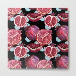 Watercolor Pomegranates - repeat pattern dark Metal Print