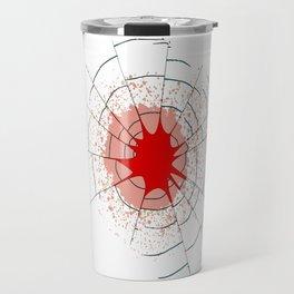 Single Bullet Holes in Glass Travel Mug