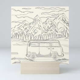 Mountain Road Linescape Mini Art Print