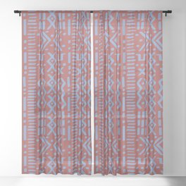 Mudcloth No. 1 in Rust Sheer Curtain