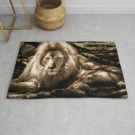 Lion Lying Down (Black & White) Rug