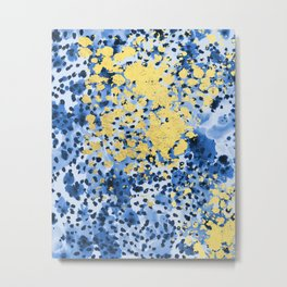 Nell - abstract gold indigo blue painting free spirit hipster boho college dorm modern minimalism  Metal Print
