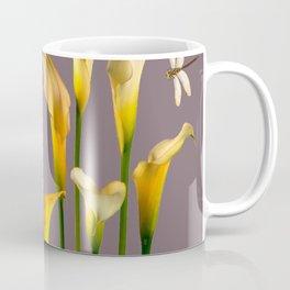 GOLD CALLA LILIES & DRAGONFLIES ON GREY Coffee Mug