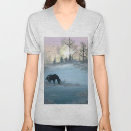 Misty Morning Mustang Unisex V-Neck