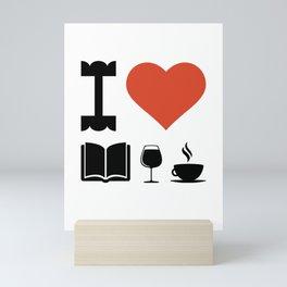 Funny Coffee Books and Wine Lover Novelty print Mini Art Print