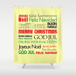 merry christmas in different languages I Shower Curtain