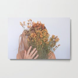 Connect; Woman with Plants; Feminine Energy Metal Print