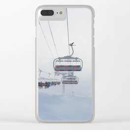 Skiers on chairlift, Alps Clear iPhone Case
