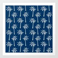 Palm trees navy tropical minimal ocean seaside socal beach life pattern print Art Print