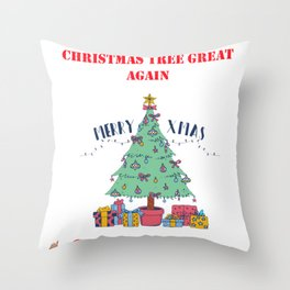 Make Your Christmas Tree Great Again Throw Pillow
