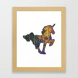 Wheather Beaten Wooden Unicorn Framed Art Print