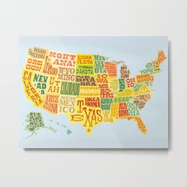 United States of America Map Metal Print