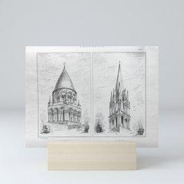Georg Sutter - The Tower Book (1888): 16 Abbey Church, Saintes; Church of Saint Aubin, Limay Mini Art Print