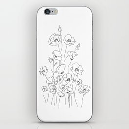 Poppy Flowers Line Art iPhone Skin