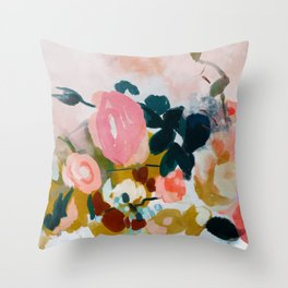 floral bloom abstract painting Throw Pillow