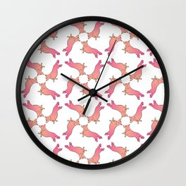 Flying Corgi Pattern Wall Clock