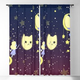 Catgirls in space with more stars Blackout Curtain