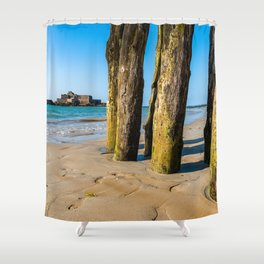 Saint Malo beach at low tide Shower Curtain